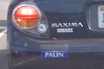 McCain/Palin sticker with McCain taped over or blacked out