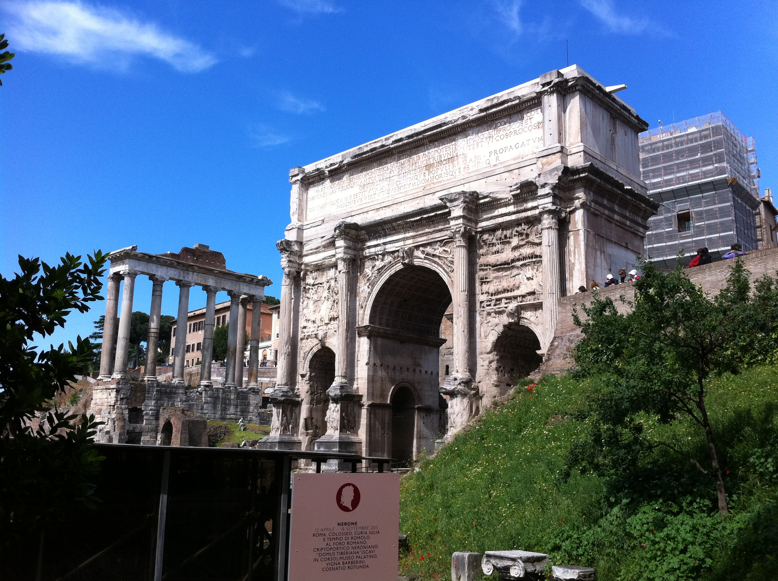 Arch of Septimius Severus and Temple of Saturn at the Roman Forum