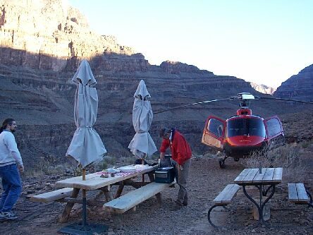 Grand Canyon, having lunch