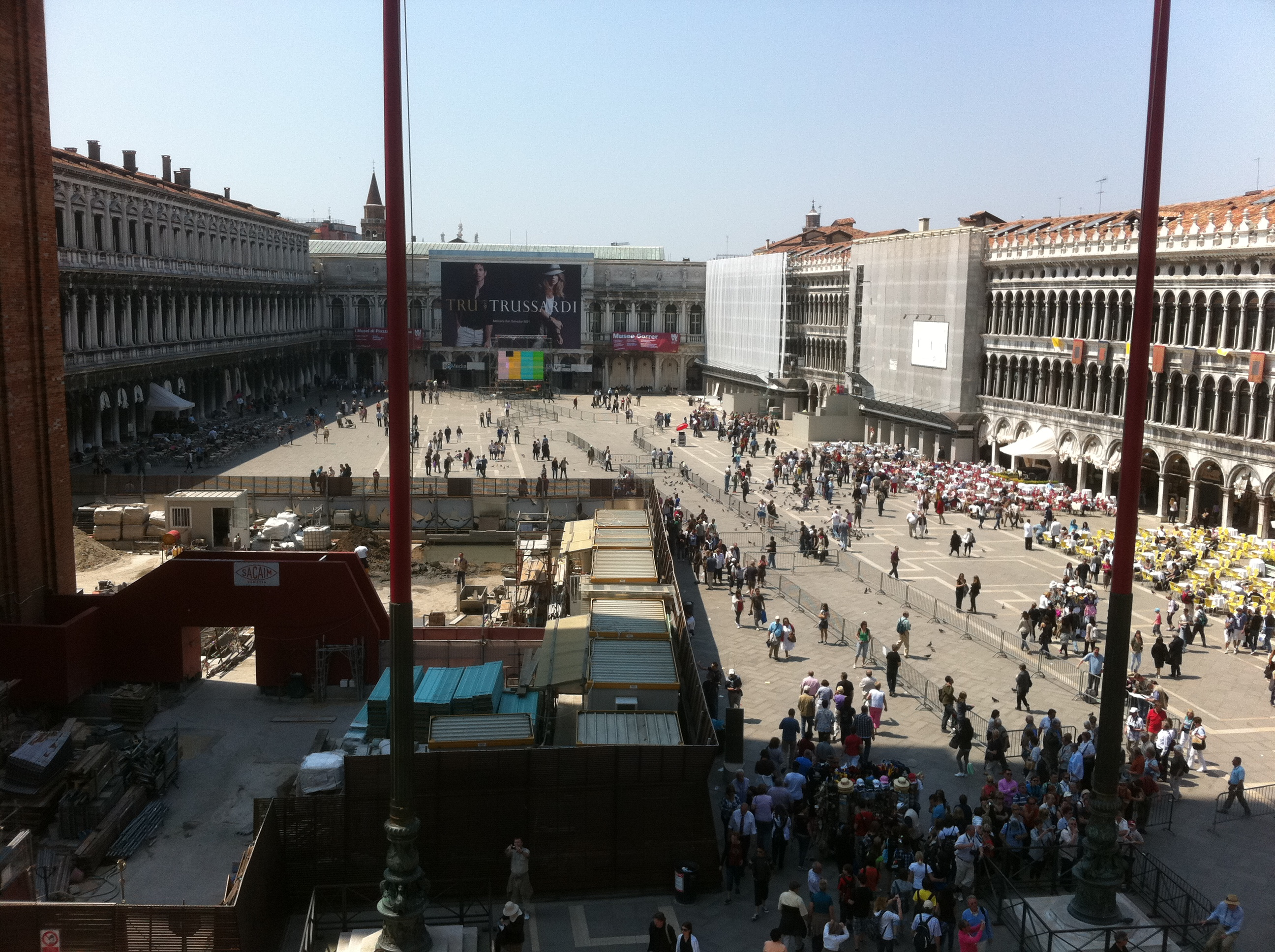 Piazzo San Marco from the Basilica; preparations already underway for a papal visit